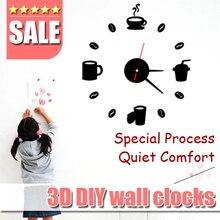 Tazas de café Cocina arte de la pared de diy 3d relojes de pared espejo diseño moderno del reloj de relojes de decoración del hogar DIY decoración pegatina salón habitación