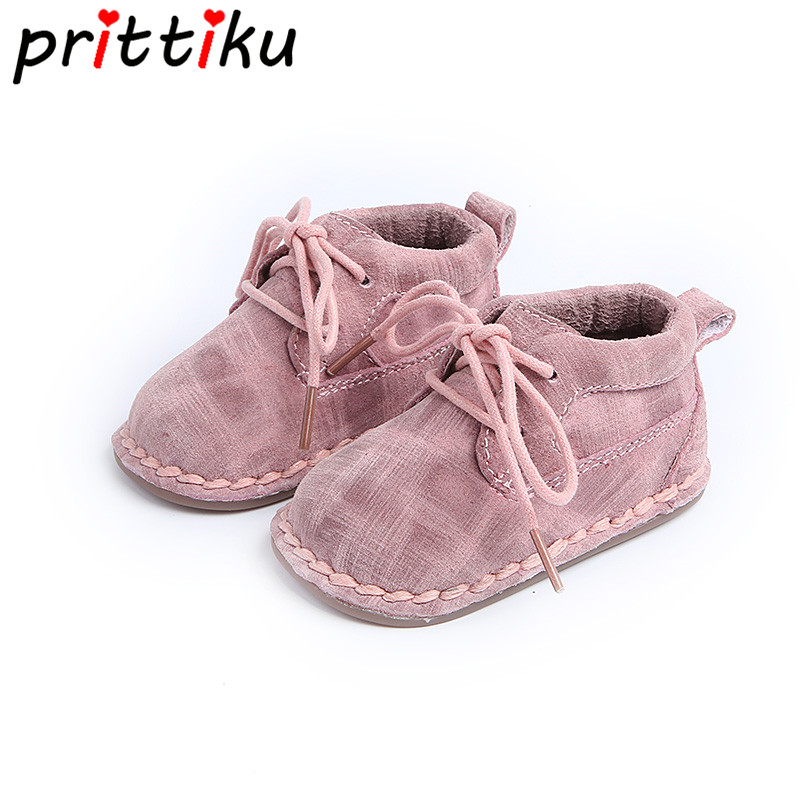 Baby Boy Girl Shoes Infant New Born Boy Girl Booties Cashmere Warm High-top Genuine Leather Walker Shoes