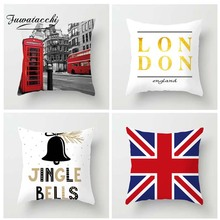 Fuwatacchi British Style Cushion Cover Gold Letter Printed Pillow Telephone Booth White Decorative Pillows For Sofa Car