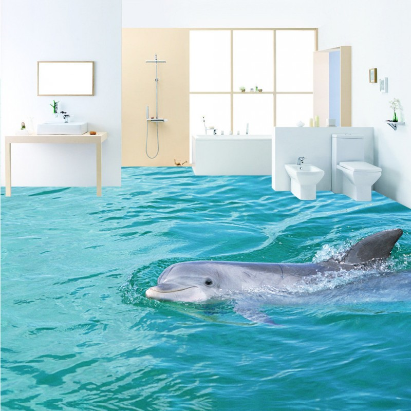 Free Shipping HD tour surface dolphin 3d flooring wallpaper thickened non-slip bedroom bathroom lobby square flooring mural free shipping ocean world 3d outdoor floor painting decoration non slip shopping mall living room bathroom lobby flooring mural