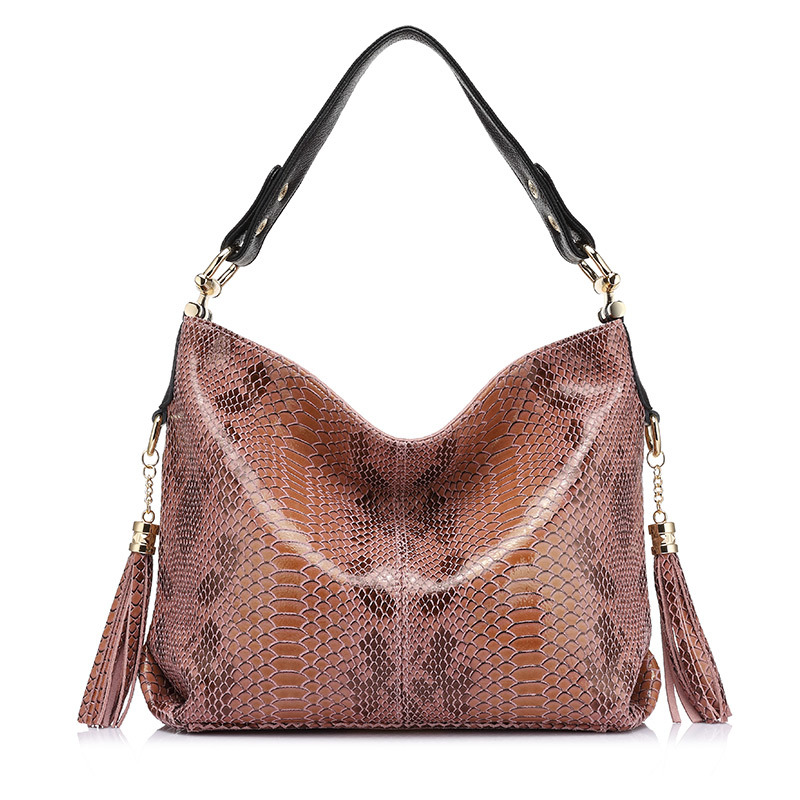 REALER brand new women genuine leather handbag fashion large capacity shoulder bags female serpentine pattern leather tote bag 2017 new casual snake pattern genuine leather women handbag serpentine fashion shoulder bag luxury brand designer female totes