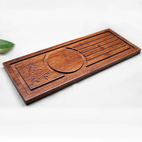 Gongfu Style Tea Tabletop bamboo tray handmade wooden plate rectangular tea set Bamboo Serving Tray 13.8 inch*5.5 inch*0.6 inch