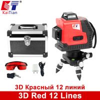 KaiTian 3D Laser Level 650nm 12 Lines Cross Level With Slash Function And Self Leveling Outdoor