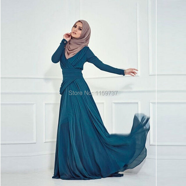 ab41ad4e9bd9e Free Custom Made Saudi Arabia UAE Muslim Dress Evening Chiffon High Neck  Long Sleeve Gown 2017 Women Style