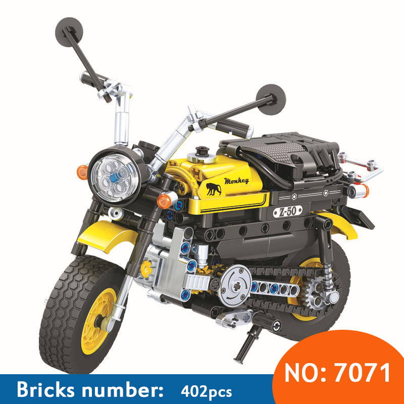 7071 402pcs Technic Mini Motorcycle Motorbike building block diy Brick Model Bricks Intelligent Toys for Children loz mini diamond block world famous architecture financial center swfc shangha china city nanoblock model brick educational toys