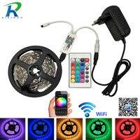 RGB Led Strip SMD5050 Led Light 15M 10M 20M Not Waterproof 5M WiFi Led RGB Ribbon Tape DC12V Flexible Led wifi strip set kit