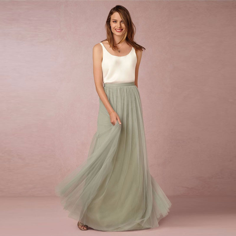Spring Autumn Skirts Tutu Long Women Mint Green Maxi Skirt Personalized Adults Tulle Skirts Street Style