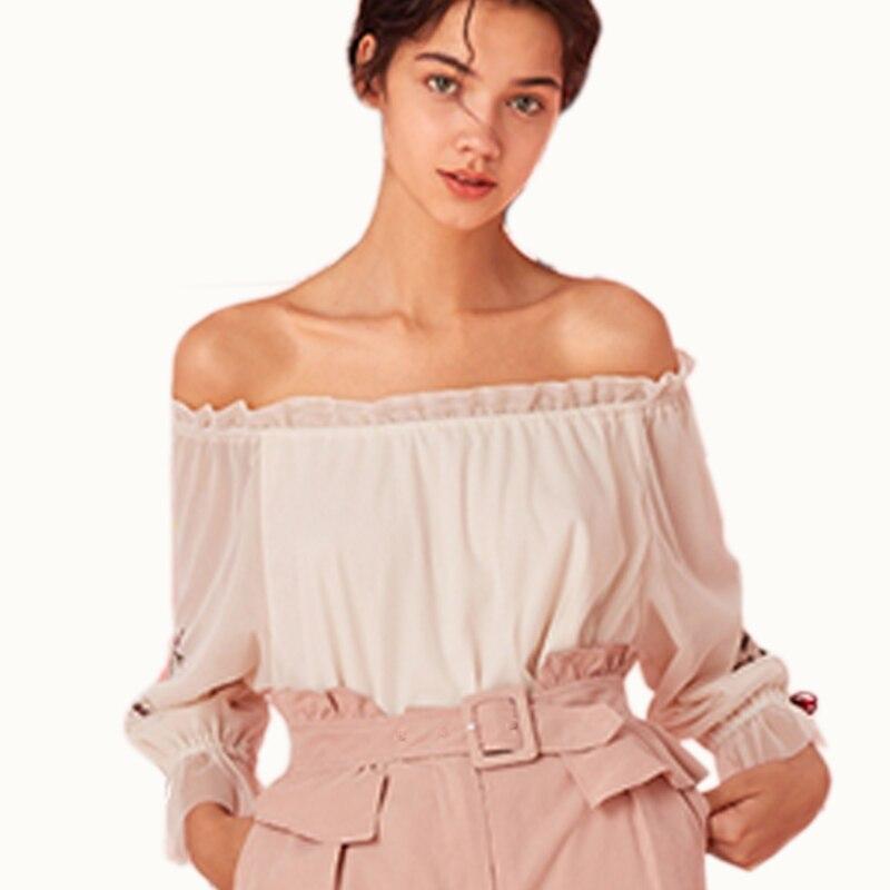 2019 femmes nouvelles Blouses d'été mode lâche dentelle top en mousseline chemises couleur unie Vintage Flare manches broderie chemise femmes