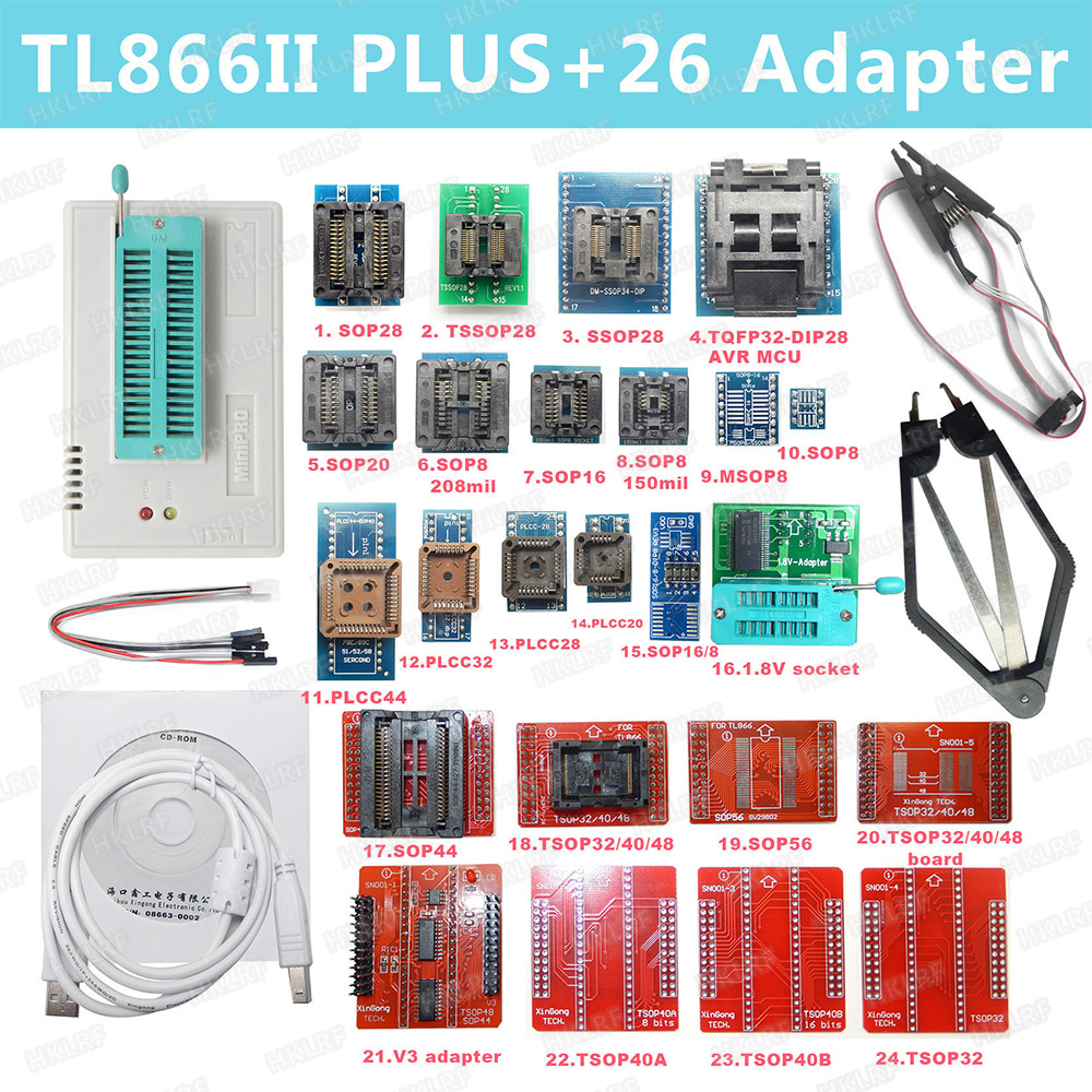 100% Original New V8.51 TL866II Plus Universal Minipro Programmer+26 Adapters+Test Clip TL866 PIC Bios High speed Programmer-in Integrated Circuits from Electronic Components & Supplies    1