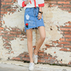 2017New Arrive Women Summer Preppy Style Short Jeans High Waist Flora Embroidery Fashion Letters Pattern Mini