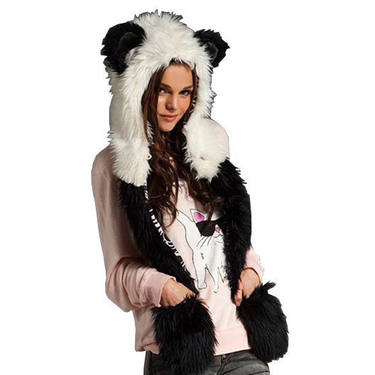 2016 Russian Women's Winter Hats Ear Flaps And Scarf Animal Pattern Fake Rabbit Fur Hats Girl Cartoon Patchwork Bomber Hats