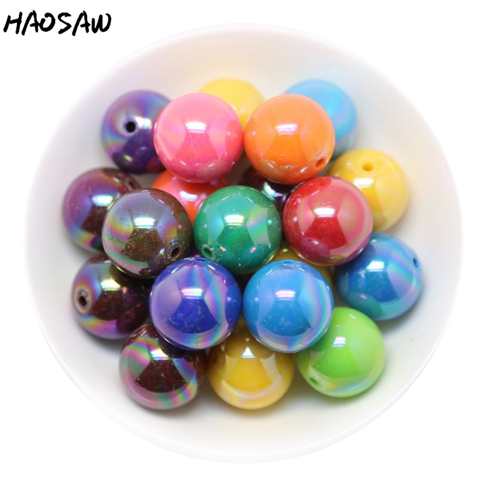 Fashion Jewelry Beads Choose Color 20MM 100PCS AB Shiny Solid Color Acrylic Beads Chunky Bead For DIY Fashion Children's Jewelry