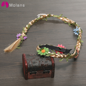 Molans or/noir queue de cheval tresse fleur bandeaux pour mariée Festival coiffure princesse tresse perruque accessoires de cheveux de mariage