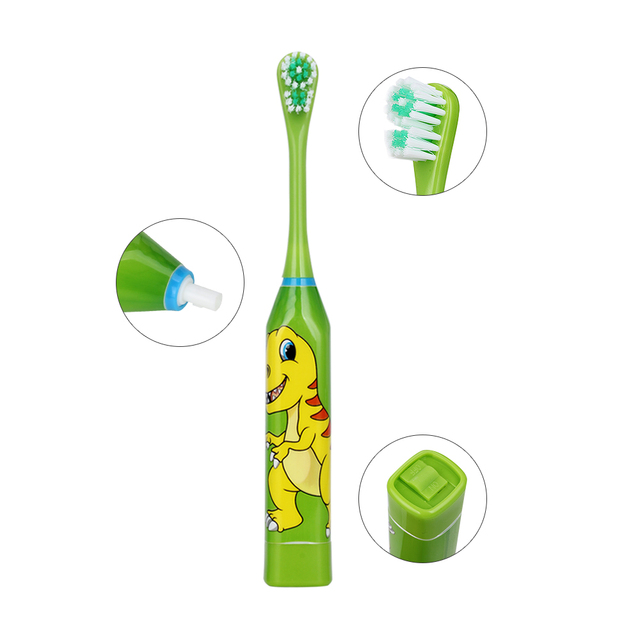 AZDENT Hot Double-sided Children Electric Toothbrush Cartoon Pattern Teeth Tooth Brush Heads For Kids with 2pcs Replacement Head