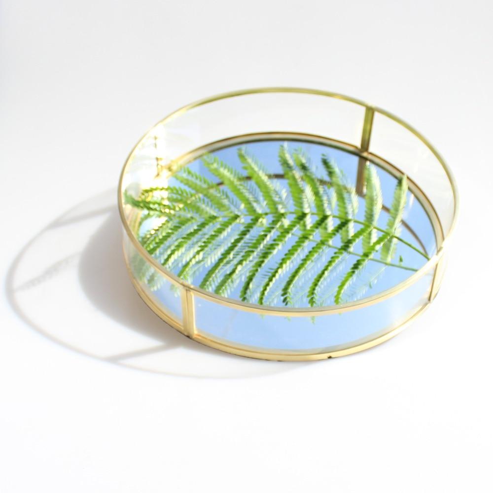 European Retro Gold Copper Glass Plate Wedding Dessert Set Storage Tray Jewelry Storage Tray Display Box