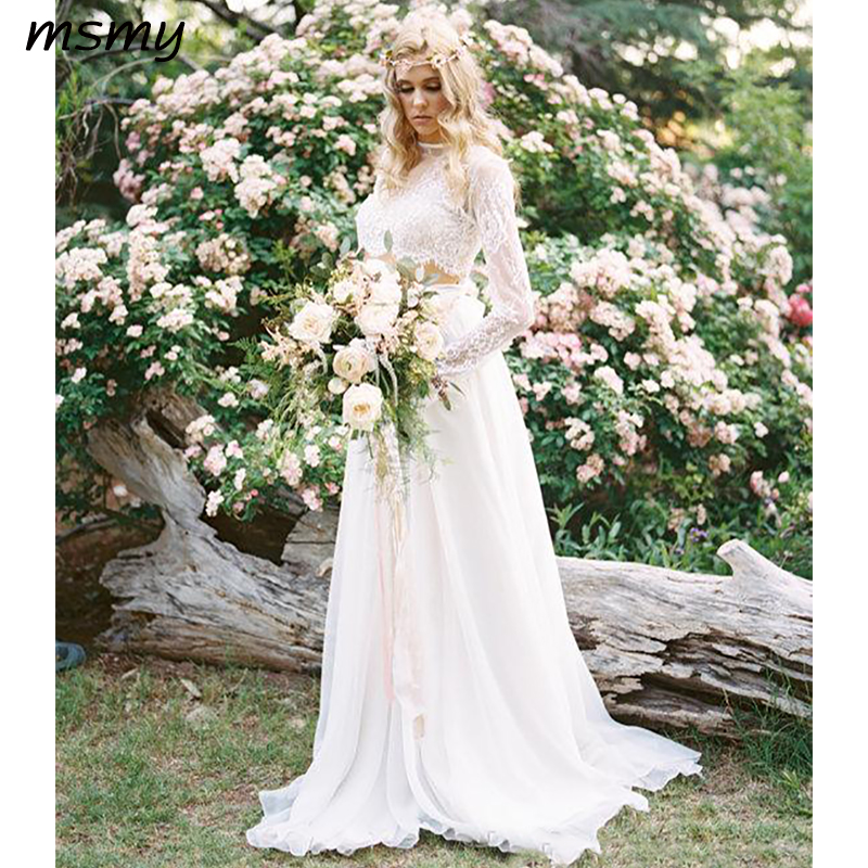 Romantic Bohemian Wedding Dresses.Us 148 2 48 Off 2019 New Romantic Two Pieces Bohemian Wedding Dresses Long Sleeves Lace Crop Top Chiffon Beach Country Wedding Gowns In Wedding