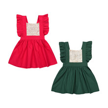 Christmas Costumes for Kids Children Evening Dress New Year Lace Flying Sleeve Sequins Girl's Dress S021