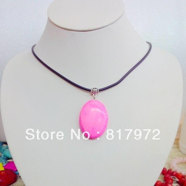 688d30c59 Sweet Girl moda oval Piedra Rosa colgante collar de cadena Cadena de cuero  partido del envío y 6N00116
