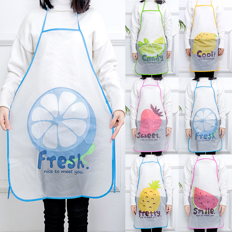 Semi Transparent Waterproof Anti oil Apron Cartoon Fruit Printing Brief Adult Apron Kitchen Baking Cooking Accessories Bib Apron