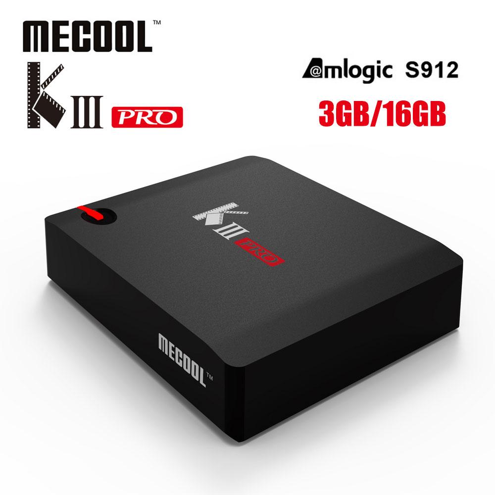 MECOOL DVB-T2 DVB-S2 KIII PRO Amlogic S912 3+16GB Android 7.1 TV Box 4K 1080p media player Support CCCAM Biss key PowerVU цена