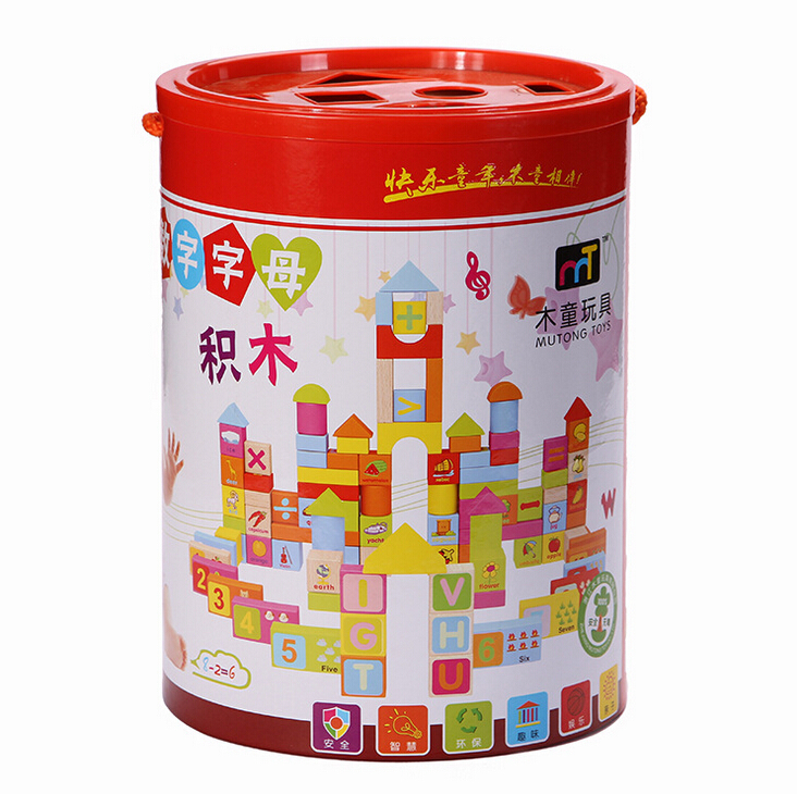 102pcs Number Letter Wood Blocks Toy Creative Develop Design Building Eco Friendly Colorful Water Based Paint Best for kids