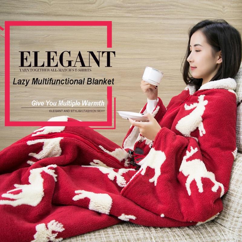 PanlongHome Lazy Blanket Cape Cloak Sleeve Blanket Quilt Office Nap Blanket Winter Dormitory Mantle Covered Blanket