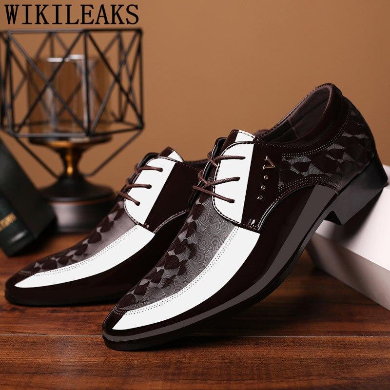 Brown Dress Wedding Shoes Men Formal Italian Patent Leather Shoes For Men Coiffeur Elegant Shoes Men Classic Zapatos Hombre Bona