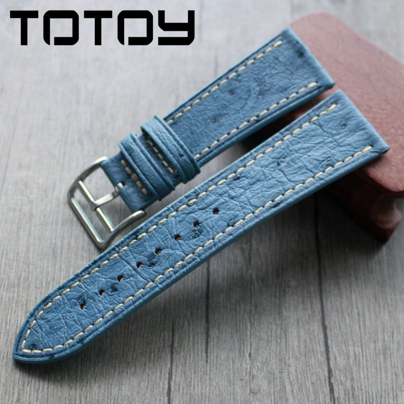 TOTOY South African Ostrich Leather Watchbands  22MM 24MM Vintage Soft Leather Strap, Blue Vintage Strap
