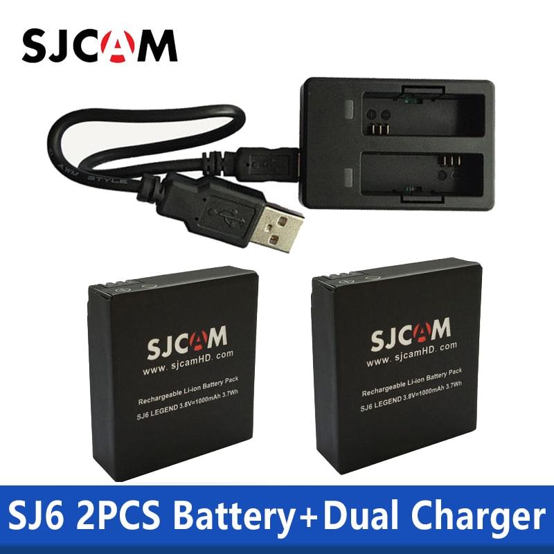 SJCAM 2 PCS SJ6 Baterias 3.8 V 1000 mAh Bateria Recarregável + Carregador Duplo Para SJCAM SJ6 Lenda Ação Esporte acessórios da câmera