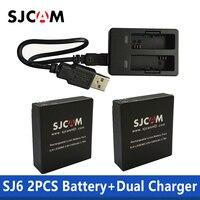 SJCAM 2 шт. SJ6 батареи 3,8 в 1000 мАч аккумуляторная батарея + двойное зарядное устройство для SJCAM SJ6 Legend Спортивная экшн-камера аксессуары