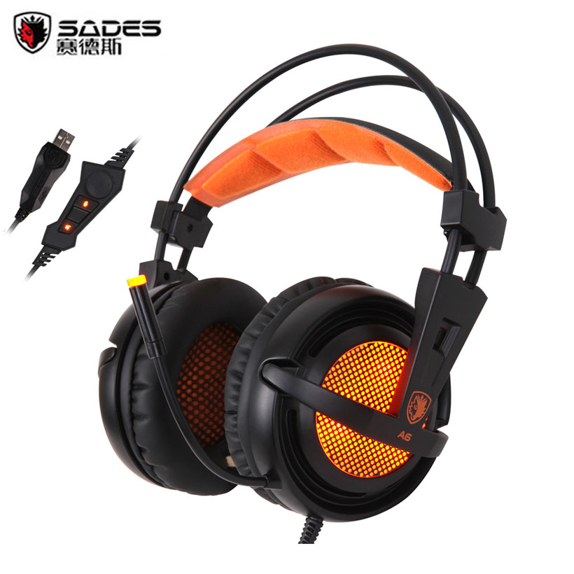 Sades A6 Computer Gaming Headphones 7.1 Surround Sound Stereo Over Ear Game <font><b>Headset</b></font> with Mic Breathing LED Lights for PC Gamer