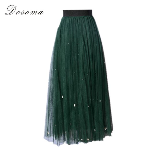 Pérola elegante longo de tule saia mulheres primavera 2017 frisado longo duas camadas véu saia tutu verde da forma das mulheres saia longa meninas