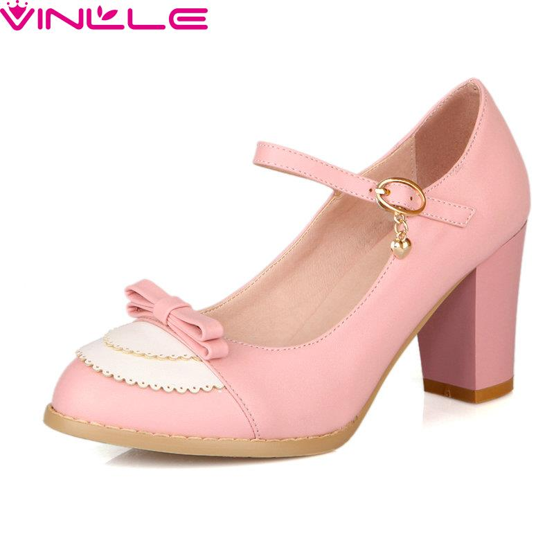 VINLLE 2017 Women Pumps Round Toe Buckle Strap Bow Tie Square High Heels Lace Pu Soft  Leather Spring /Autumn Party Lady Shoes xexy small square toe medium heels natural leather women shoe spring autumn buckle strap dance party sweet platform women pumps