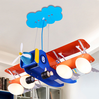 Современная подвеска с изображением самолета, креативная мультяшная подвесная Светодиодная лампа для детской комнаты, детская спальня, де
