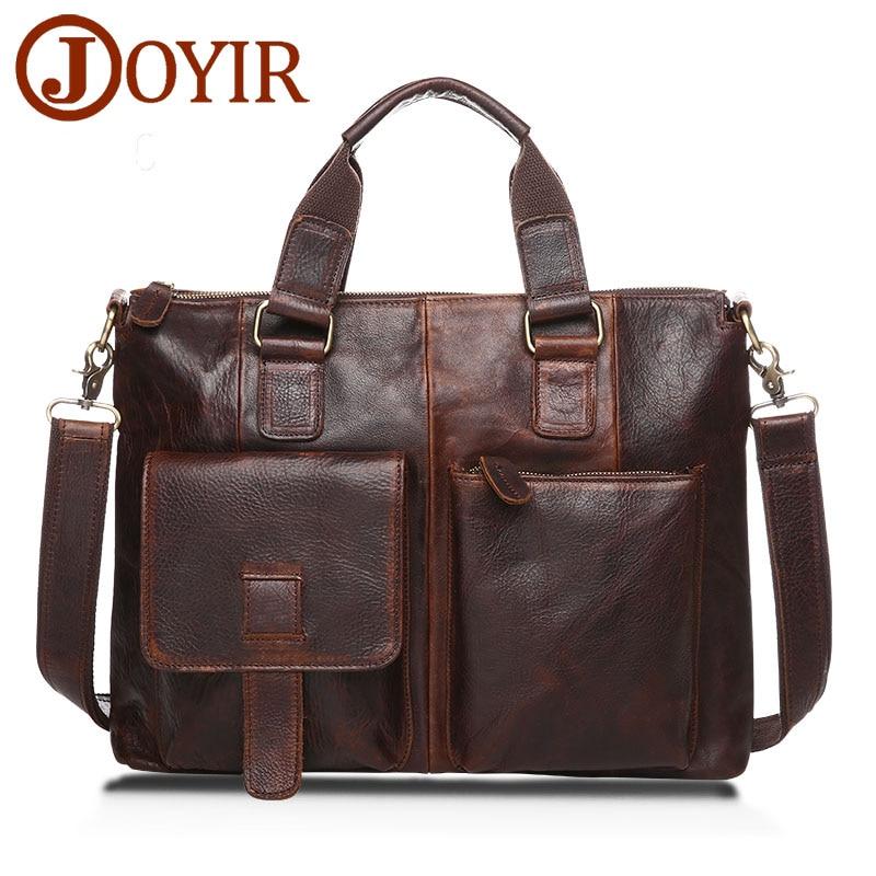 JOYIR Luxury Brand Men Briefcase Men Genuine Leather Handbag Famous Business Shoulder Travel Bag Laptop Bag