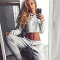 2017 two pieces of sets women short tops + long pants with cap longsleeve drawstring feme suits three colour
