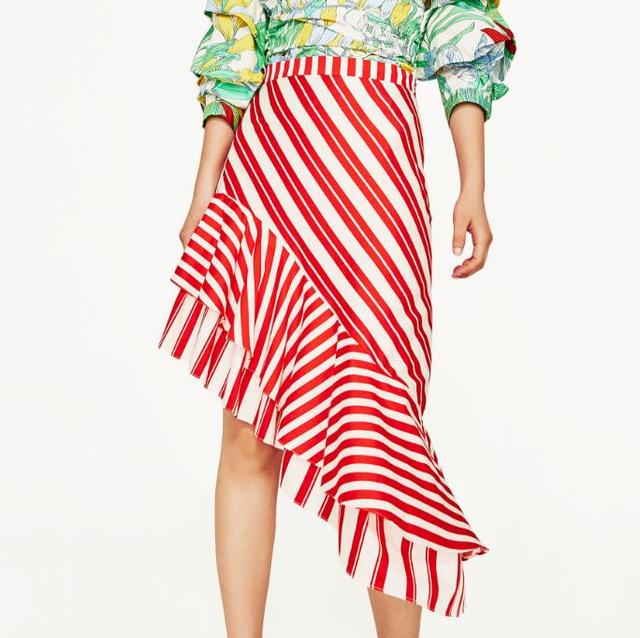 e17ef04054 WISHBOP NEW 2017 Fashion Woman RED WHITE STRIPED SKIRT WITH Asymmetric  Layered FRILLS