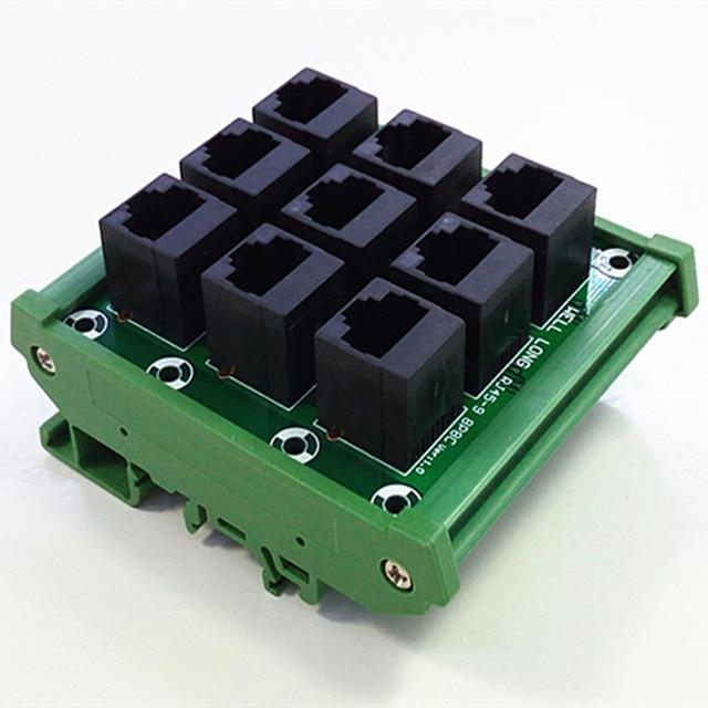 din rail mount rj45 module rj45 8p8c jack 9 way buss breakout board rh aliexpress com RJ45 Wiring Color Code RJ45 Wiring Standard
