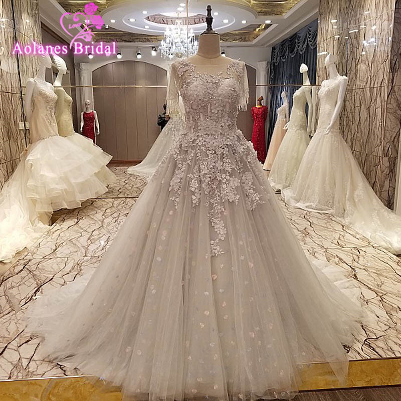 Real Photo Long A Line Evening Dresses Sheer Beaded Crystals Appliques Back See Through Tulle Court Train Prom Party Gown 2017