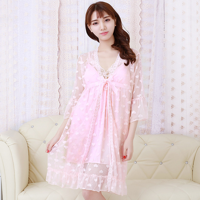 Strap Nightdress Mesh Sexy Lingerie Ladies Nylon Lace Robe Sexy 2 Piece Set Nightdress 6 Colors Nightgown Spring Women Robe