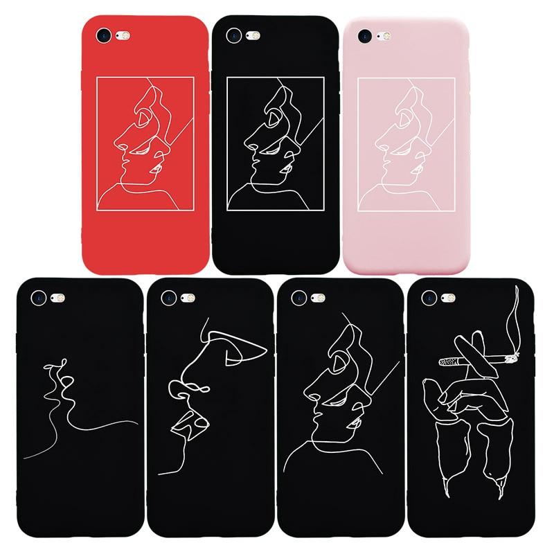 Brand NEW Hot Fashion Soft TPU Silicon <font><b>Case</b></font> for <font><b>iPhone</b></font> 7 7Plus 8 <font><b>8Plus</b></font> 6 6s Plus 5 5s SE X Phone Bag Cover Abstrcat Sketch Cool