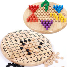 Free shipping Children wooden 6 Angle Checkers+Gobang game, kids intelligence Educational Supplies toys
