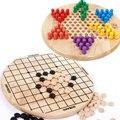 Frete grátis para Crianças de madeira 6 Ângulo Damas + jogo Gobang, crianças inteligência Educacional Suprimentos brinquedos