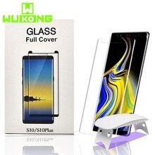 2 adet ekran koruyucu Samsung S9Plus S10Plus temperli cam sıvı tam tutkal UV ışık notu 10 artı S20 artı not 20 ultra