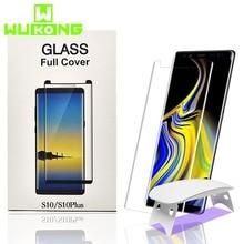 2pcs מסך מגן עבור סמסונג S9Plus S10Plus מזג זכוכית נוזל מלא דבק UV אור הערה 10 בתוספת S20 בתוספת הערה 20 אולטרה