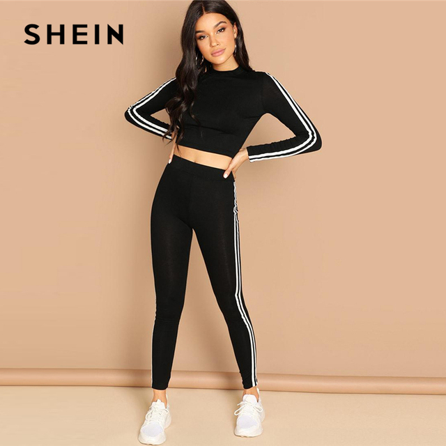 91c1e9304f SHEIN Black Striped Tunic Pullover & Pants Set Casual Stand Collar Long  Sleeve Athleisure Twopiece Women Autumn Sporting 2 Piece