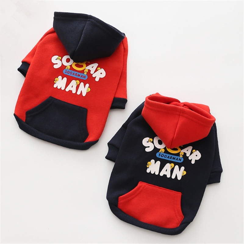New Fashion Autumn/winter Dog Clothes 100% Cotton Double Foot Fashion Thickening Printing Flower Dog Clothes (red,black)