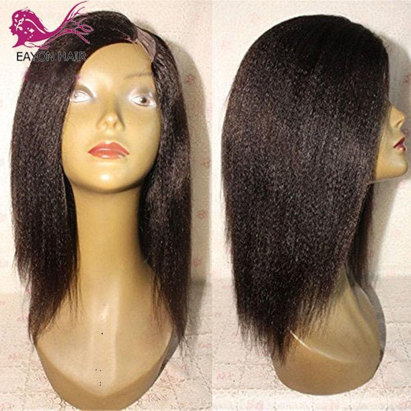 EAYON HAIR Brazilian Short Bob Human Hair UPart Wigs Italian Yaki Straight U Part Wigs Yaki Bob Styled Remy Hair For Blacks
