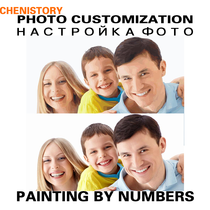 CHENISTORY DIY Painting By Numbers Personality Photo Customized Your Own Portrait Wedding Family Children Photos For Unique Gift