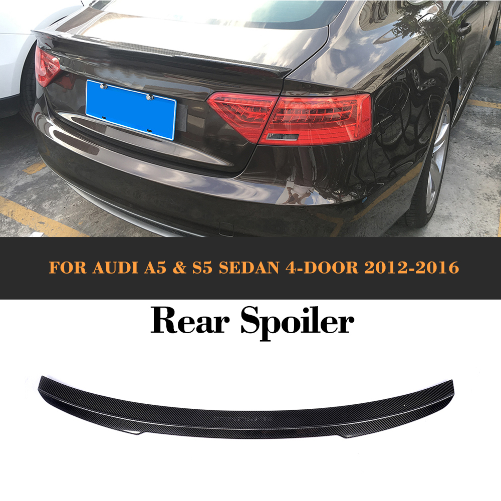 Carbon Fiber Auto Racing Car Rear Tail Trunk Lip Wing Spoiler for Audi A5 S5 Sline Sedan 2012 2013 2014 2015 2016 Non Hatchback image